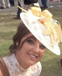 """Thank you for my beautiful fascinator , I'm absolutely in love with it !!! I wouldn't of trusted anyone else making it for my day at Goodwood!!!"" Miss H.W. July 2016"