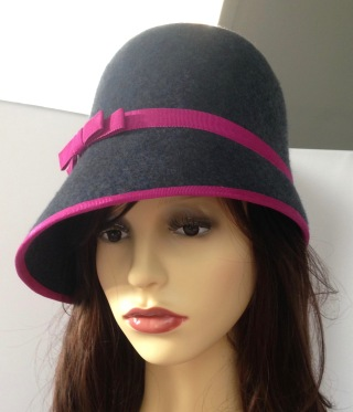"""""""I commissioned Isabelle Josie to make a felt cloche for a very good friend. My friend was 'blown away' by the beauty of the hat. It fitted perfectly and the colour totally complimented her hair colour, skin tone and personality! My friend was very pleased with the couture piece with its 'invisible' hand-stitching stitching - it was like Millinery Magic had happened"""". Mrs KS Dec 2015"""