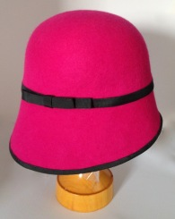 Cerise Felt Cloche with Side Sweep