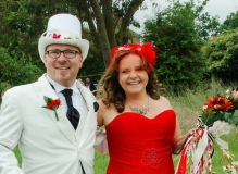 """""""Isabella was amazing to work with and she captured my alternative ideas of what I wanted from my hair piece. I wanted a red fascinator that went with my red corset dress, with a vintage feel. I was astounded by the result. She gave me a wide list of options I could choose and she was very informative and personable. I would highly recommend her service for all occasions"""". Mrs C.P. July 2016"""