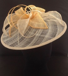 Gold and Ivory Sinamay Freeform Base with Rolled Edge Leaves