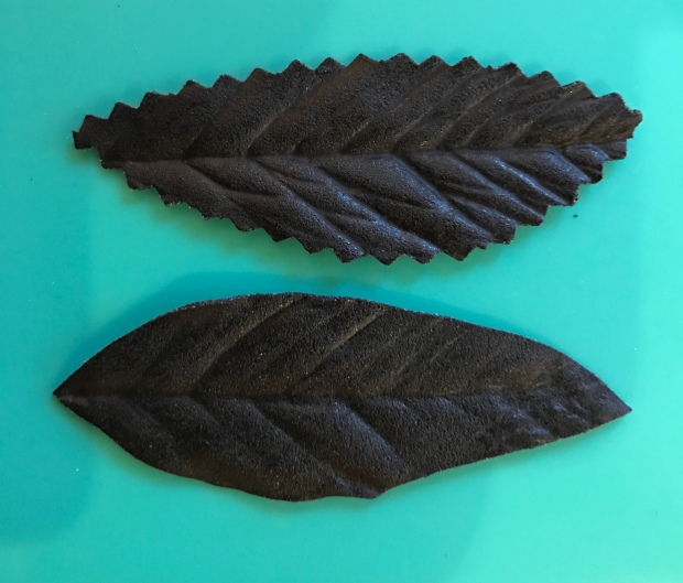 Black Art Worbla Leaves with pinking shear and smooth cut edge