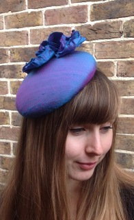 Shot Silk Large Button Percher / Cocktail hat with Flower