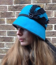 Turquoise Wool Felt Cloche with Side sweep and felt feathers