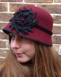 Burgundy Wool Felt Cloche with Black Petersham Ribbon