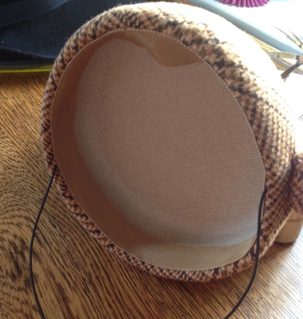 inside of Hat showing petersham ribbon