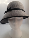 Felt cloche with side swept brim