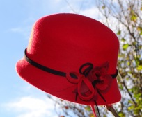 West Sussex Bespoke Millinery by Isabella Josie Red Felt Cloche with Hand Felted Flower