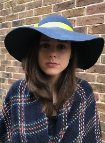 Denim Wool Felt Floppy Hat with Yellow Ribbon Trim