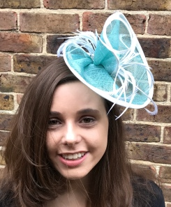 Aqua and White Feather Freeform Fascinator
