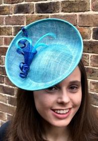 Aqua and royal blue sinamay percher