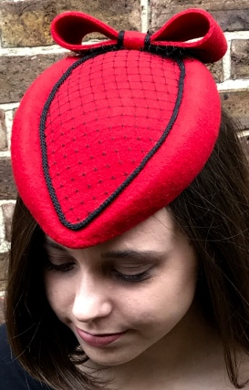 Red Felt and Black Netting Maid Marion Style Hat