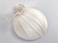 Ivory Slub Silk Bridal Headpiece with Veiling by Isabella Josie Millinery