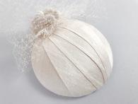 Ivory Slub Silk Bridal Headpiece with Veiling