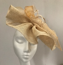 Gold and Ivory Pleated Fan Percher Fascinator
