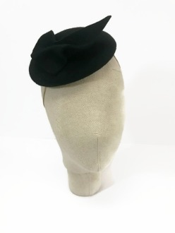 Black Wool Felt Vintage Style Cocktail Hat with Abstract Trim
