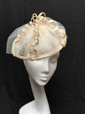 Natural Cream and Ivory Freeform Fascinator with Ivory Tulle