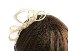 Ivory Sinamay Bow with Goose Biot Feathers