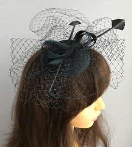 Navy Dark Blue Fascinator with Millinery Veiling, Arrow Feathers and Sinamay Swirl