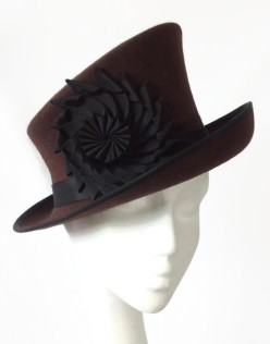 Brown Felt Slanted Crown Top Hat