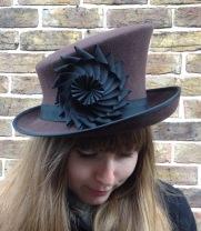 Winter Ascot Goodwood Racing Hat Brown Felt Slanted Crown Top Hat