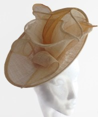 Natural Cream and Gold Sinamay Saucer Percher Hat with Abstract Lily