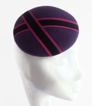 Purple Felt Button Cocktail Hat with Black and Pink Ribbon