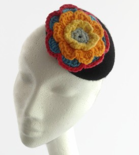 Black Button Felt Hat with Hand Crochet Flower