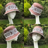 Straw Summer Cloche with Lace Detail, Bespoke Millinery by Isabella Josie