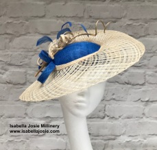 Royal Blue and Natural Cream Ascot Hat with lattice brim and feather trim by Isabella Josie Millinery