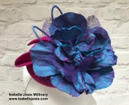 Cerise Pink and Blue Shot Silk Cocktail Hat by Isabella Josie Millinery