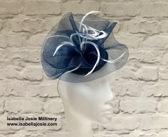 Navy and White Fascinator by Isabella Josie Millinery