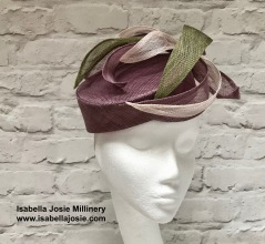 Slanted Plum Pill Box Hat by Isabella Josie Millinery
