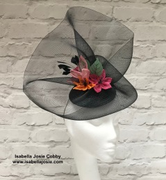 Handcrafted Sinamay flowers and Black Sculptural Headpiece by Isabella Josie Millinery