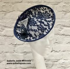 Navy and Ivory Lace Hatintaor by Isabella Josie Millinery