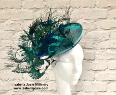 Blue and Aqua Peacock Feather Saucer Hat by Isabella Josie Millinery