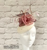 Ivory and Pink Cocktail Hat by Isabella Josie Millinery