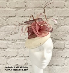 Ivory and Pink Cocktail Hat by Isabella Josie Bespoke Millinery