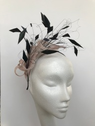 Nude Pink and Black Lily and Feather Fascinator, Bespoke Millinery by Isabella Josie