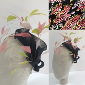 Bespoke Fascinator made to compliment clients' dress fabric, Bespoke Millinery by Isabella Josie