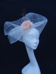 Floating Ivory Sinamay Headpiece with Peach Feather Trim, Bespoke Millinery by Isabella Josie Millinery