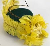 Green Mini Slanted Pillbox Hat with Yellow Feather Trim, Retro Vibe, Bespoke Millinery by Isabella Josie