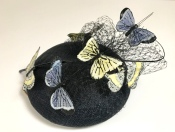 Navy Cocktail Hat with Butterflies, Bespoke Millinery by Isabella Josie