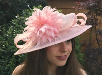 Pink Mother of the Bride Saucer Hat with Feather Trim, Bespoke Millinery by Isabella Josie Millinery