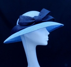 Cornflower Blue and Navy Bow Mother of the Bride Hat, Bespoke Millinery by Isabella Josie