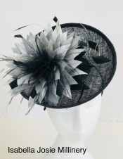 Black and Silver Saucer Perching Hat, Bespoke Millinery by Isabella Josie