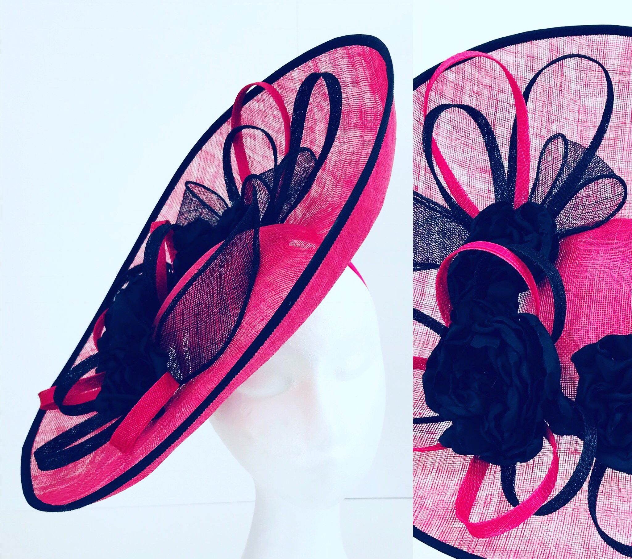 Cerise Pink and Black Hatinator by Isabella Josie Millinery