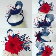 Statement Cocktail Hat Red White Blue Bespoke Millinery by Isabella Josie