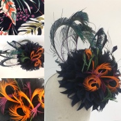 Black and Orange Feather Flower Headpiece, designed to complement client's dress fabric. Bespoke Millinery by Isabella Josie.
