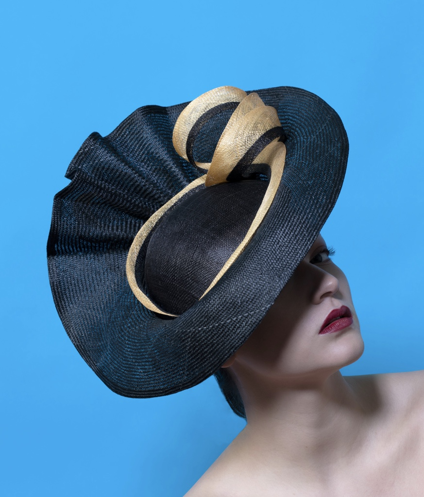Isabella Josie Bespoke Millinery Black and Gold Statement Hat